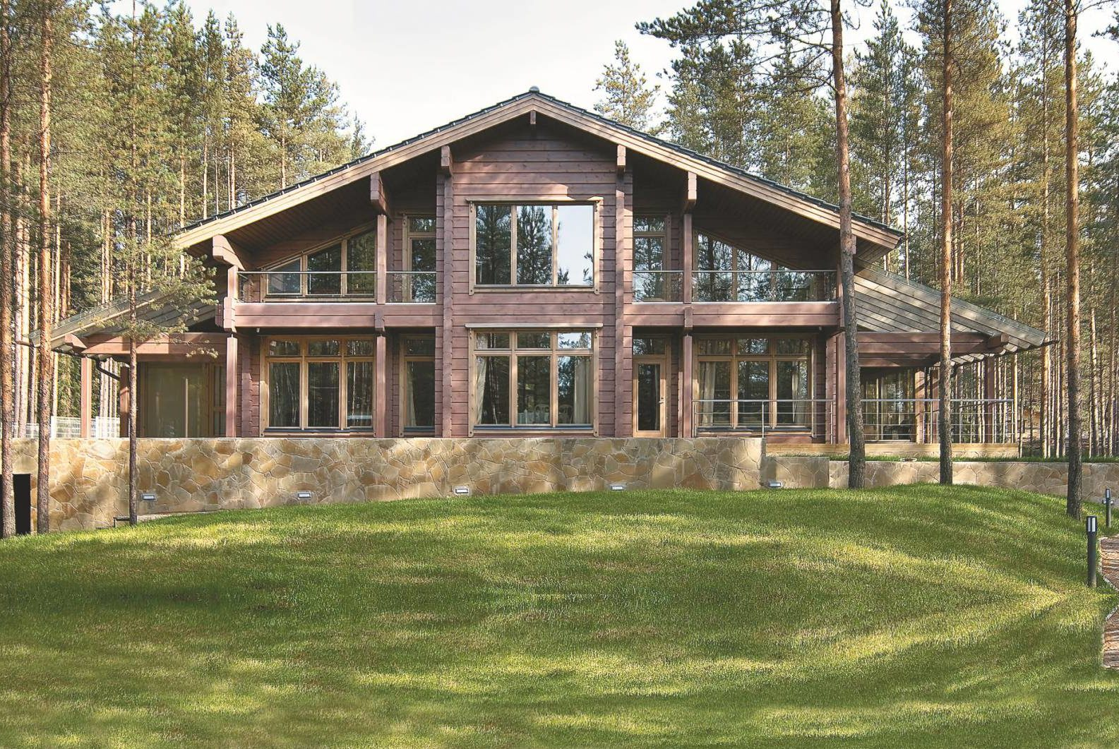 Строительство двухэтажного дома из финского клееного бруса
