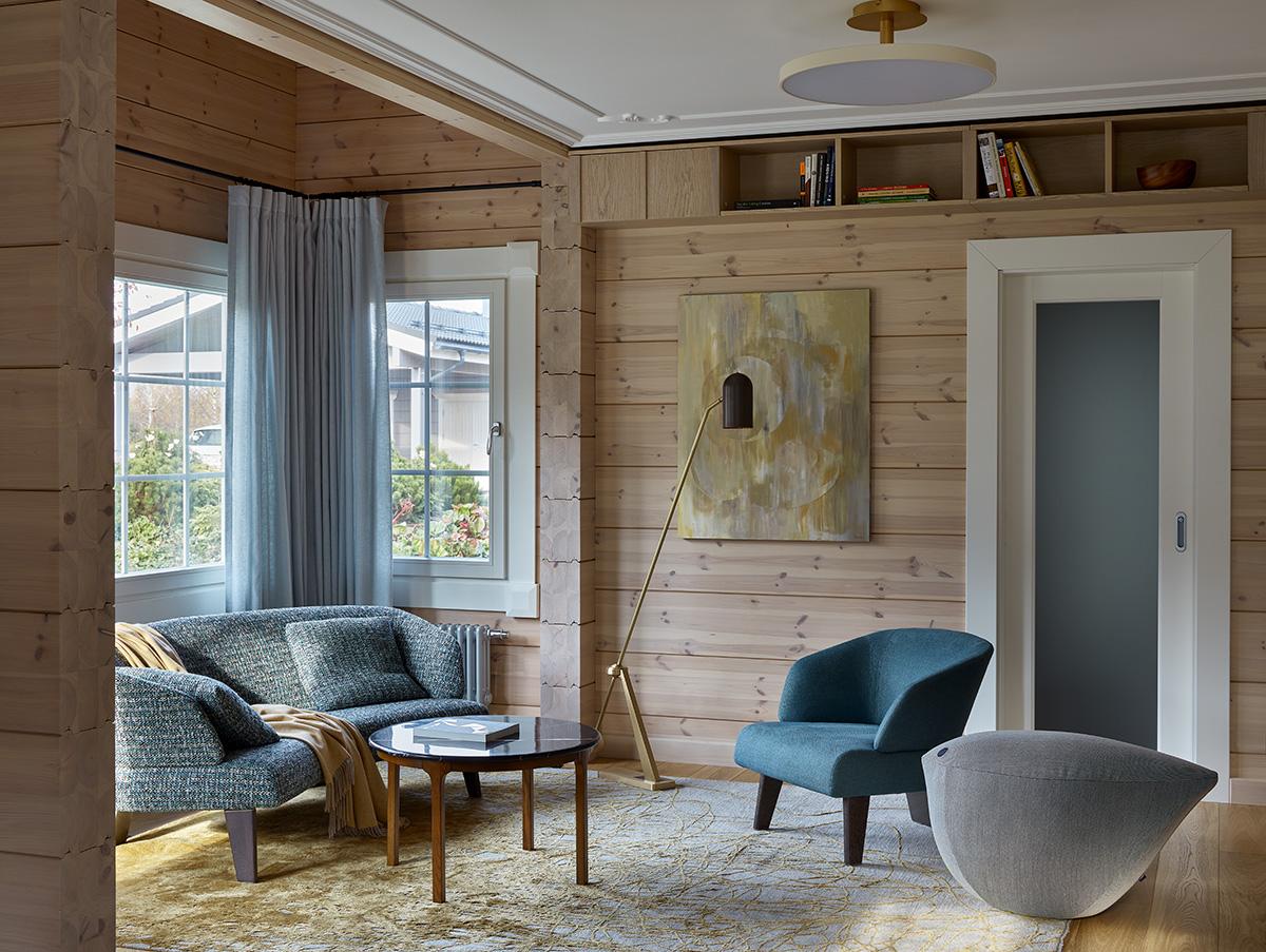 красивый интерьер деревянного дома Simfonia HONKA