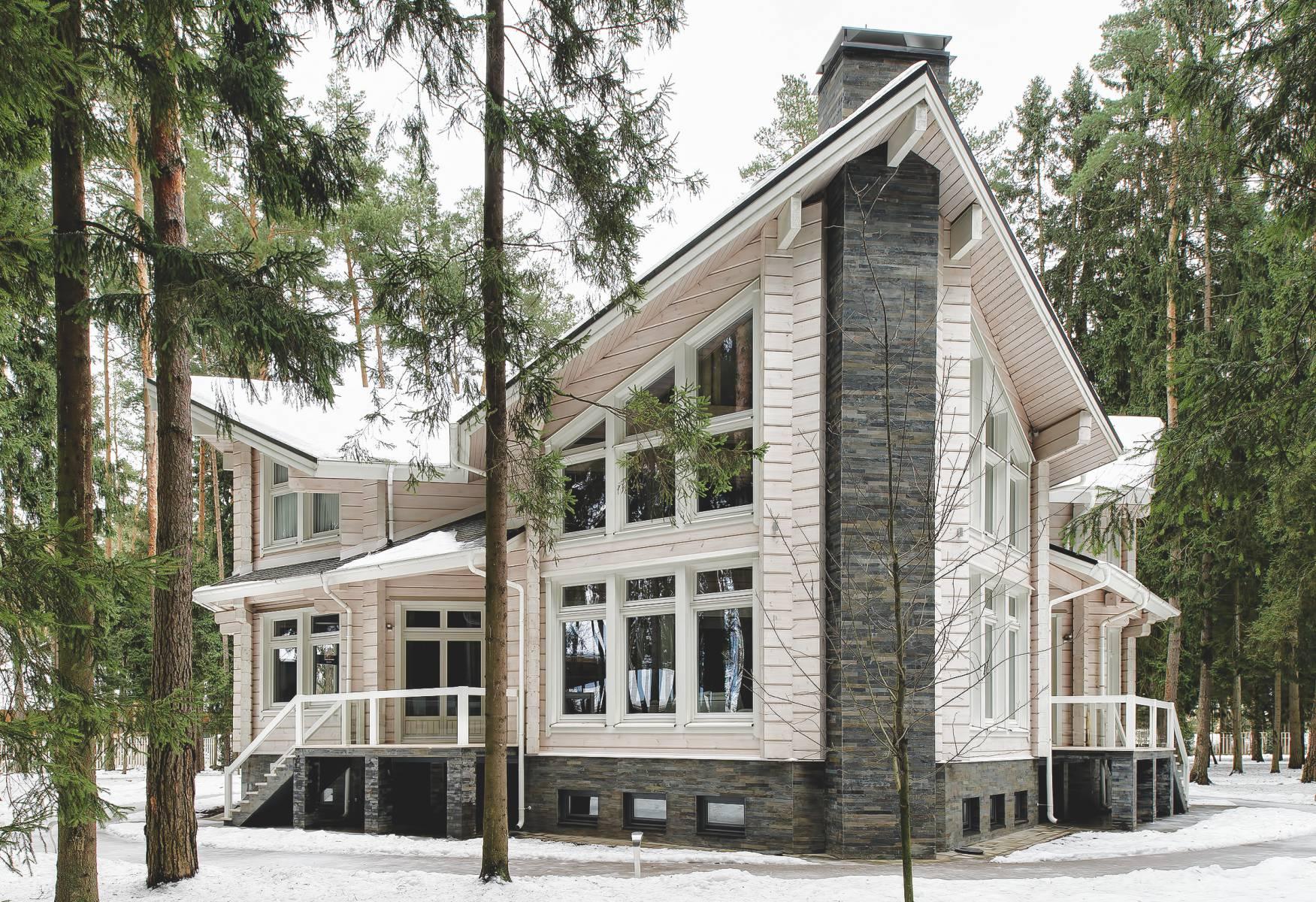 Проект деревянного дома с камином