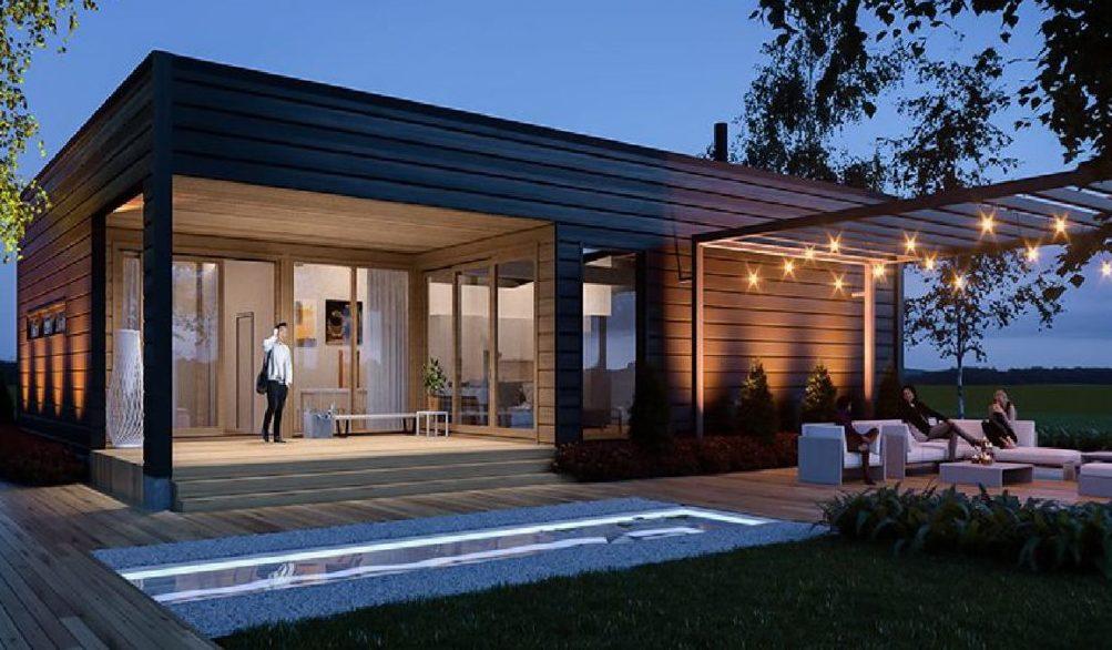 Одноэтажный элитный деревянный дом Safiiri из финского бруса