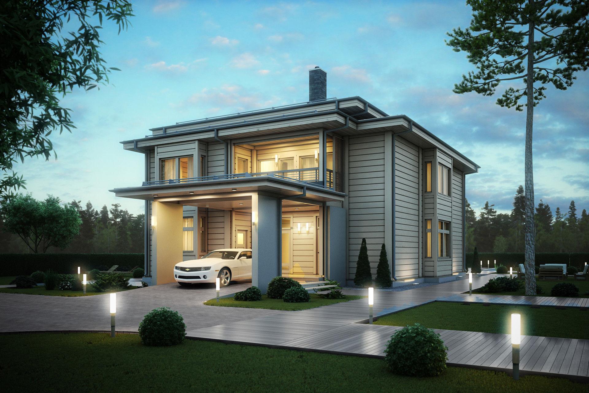 Строительство одноэтажного каркасного дома Сharm из из бруса