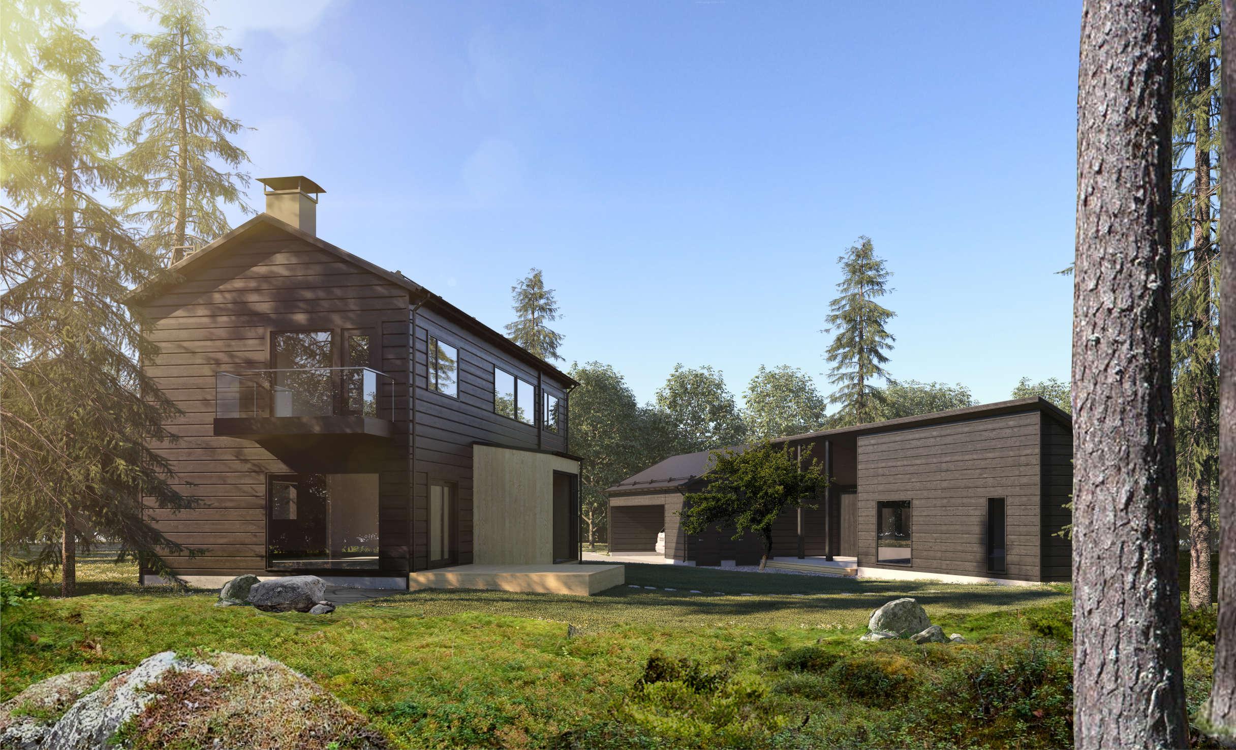 cовременный двухэтажный деревянный дом markki