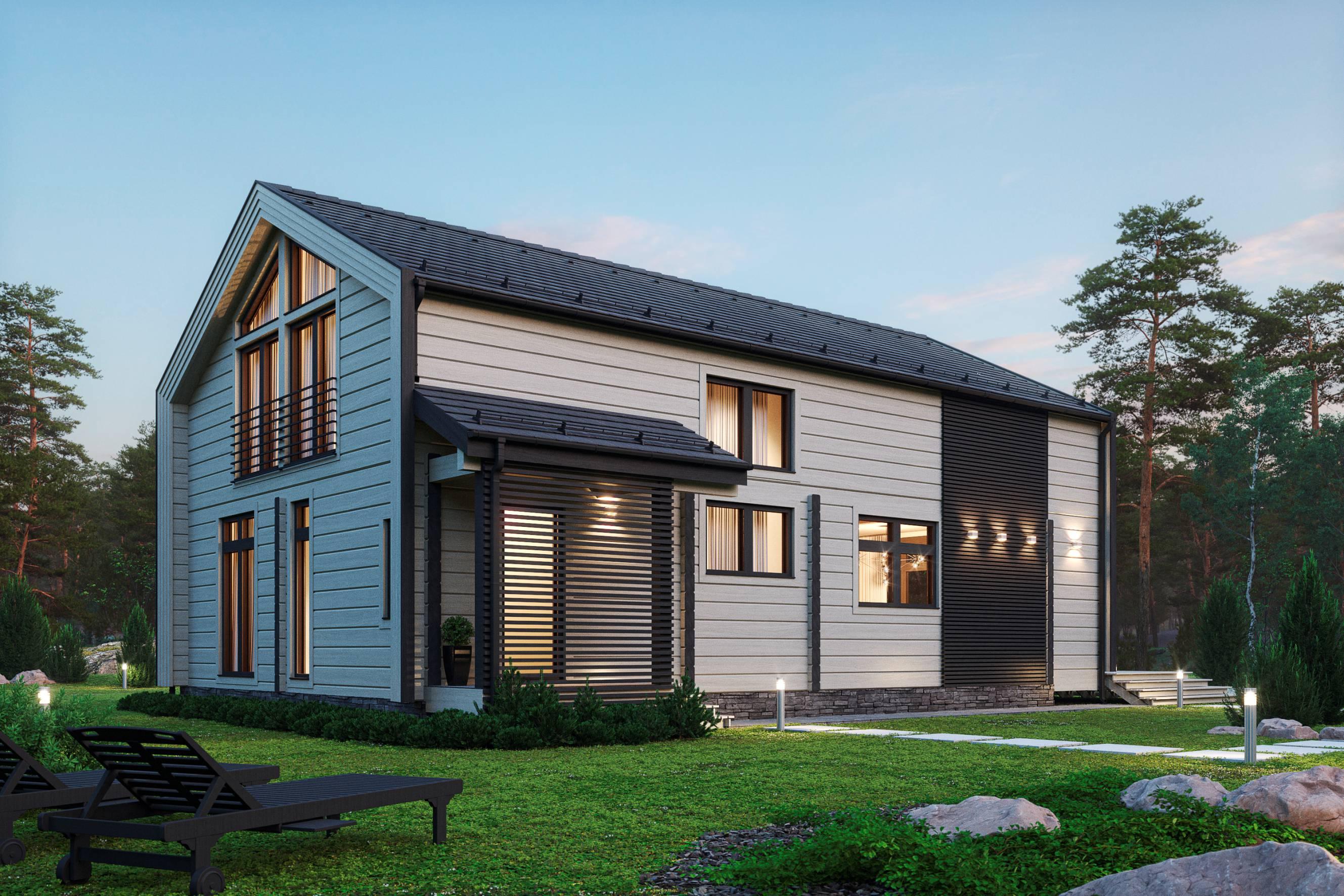 Honka Sunrise современный проект дома и клееного бруса