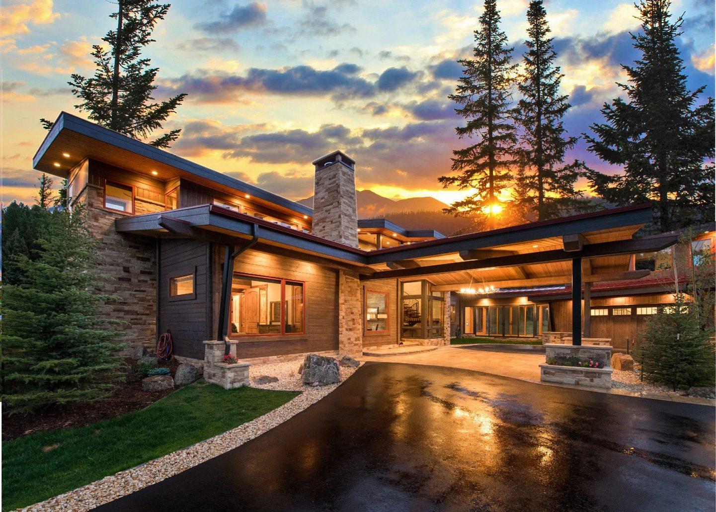 деревянный дом в стиле райта