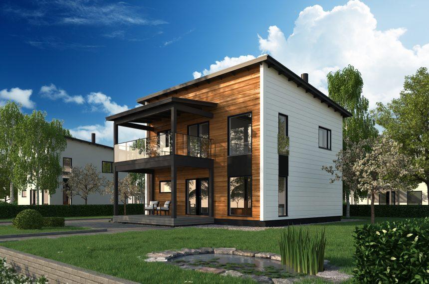 урбанистическая кубическая архитектура загородного дома